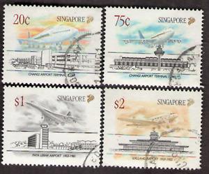 Singapore. 598-601. Civilian Airports. Set of 4. Used.1991 -23
