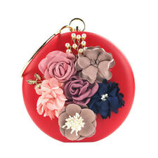 Women Flower Print Minaudiere Clutches Evening Bags Handbags Wedding Party Purse