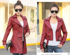Women leather vintage biker Long Trench coat can removed short Jacket 6 8 10 12