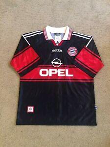 Vintage 1997-98 Bayern Munich Bundesliga Adult XL Black Adidas Soccer Jersey