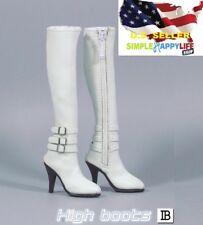 """1/6 Women white High heels Boots Zipper Shoes For 12"""" figure phicen kumik ❶USA❶"""