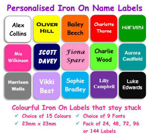 24-144 Waterproof Personalised Square Colour Iron on Name Labels Clothing Tag R3