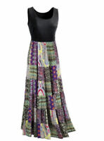 Seventh Avenue Black Multi Summer Lillith Patchwork Maxi Dress Cruise Size L
