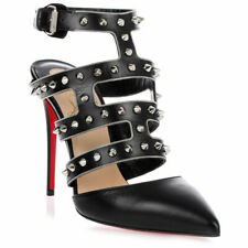 NIB Christian Louboutin Tchicaboum Spikes Black Leather Caged Pointed Pumps 37 7