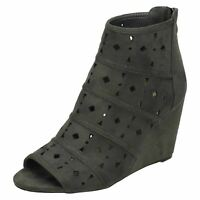 LADIES GREY WEDGE ZIP-UP PEEP-TOE ANKLE BOOTS CASUAL FAUX-SUEDE SHOES SIZES 3-8