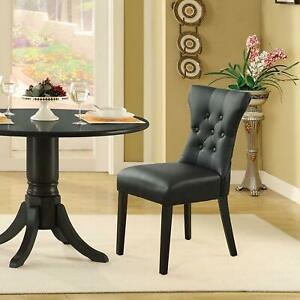 Modway Silhouette Tufted Faux Leather Parsons Dining Side Chair, Black New