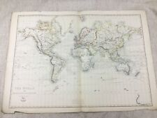 Antique World Map Mercators Projection Old Hand Coloured 19th Century