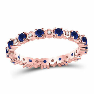 10kt Rose Gold Womens Round Blue Sapphire Diamond Eternity Band Ring 1 Cttw