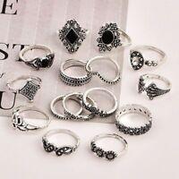 15 Pcs/set Silver Midi Finger Ring Vintage Punk Boho Knuckle Rings Jewelry Set