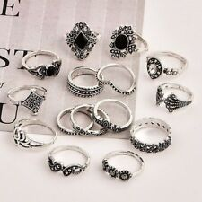 15 Pcs/set Silver Midi Finger Ring Vintage Punk Boho Knuckle Rings Jewelry Set