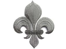 Fleur de Lis Silver Metallic Applique Embroidered Iron On Patch 4 Inches