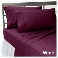Top Bedding Sheet Set-Fitted/Flat/Bed Skirt 1000 TC Egyptian Cotton Wine Solid