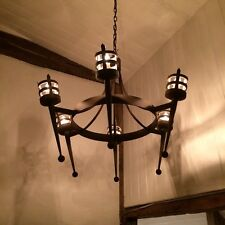 Wrought Iron Medieval British Hand Forged Chandelier