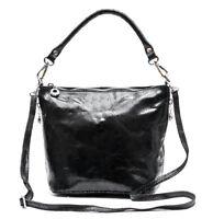 Damen echt Leder Schultertasche Handtasche Made in Italy schwarz Ledertasche