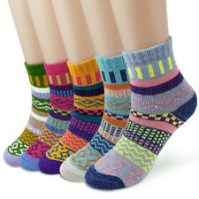 5 Pairs Womens Wool Socks Warm Winter Multi-colored Thick Socks Woven Cashmere