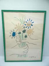 Vintage Picasso 1958 Flower Bouquet Hands Print Hanging Wall Art Artwork