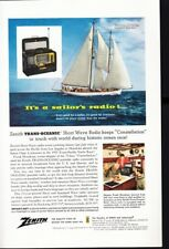 Zenith Trans Oceanic Radio Vtg Print Ad Constellation Schooner Sailboat 1956