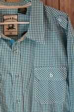 Turquoise Blue Plaid Shirt Long Sleeve Button Front Cotton Blend 5XL XXXXXL NEW