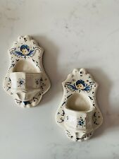 2 Ceramic Wall Sconces Holy Water Font ?Dutch Spanish