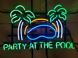 """19""""x15""""Party at the Pool Neon Sign Light Summer Beach Beer Bar Pub Wall Hanging"""