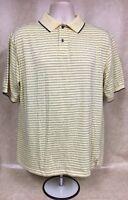 Haggar Cool 18 Performance Golf Wear Striped Short Sleeve Yellow Polo Shirt M