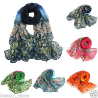 Winter Womens Floral Scarf Voile Scarves Long Soft Neck Wraps Warm Shawl Scarf