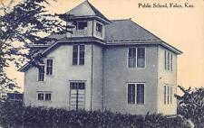 FALUN, KS Public School Kansas Vintage ca 1910s Cyanotype Postcard