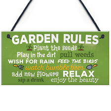 Garden Rules Relax Novelty Plaques SummerHouse Sign Garden Shed Friendship Gifts