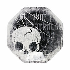 "8 HALLOWEEN Party Paper SPOOKY SOIREE Skull Black White 7"" DESSERT Cake PLATES"