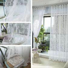 Lace Floral Curtains Fabric Cloth Window Door Tulle Sheer Mesh Country White