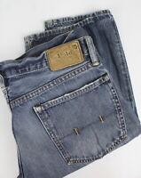 POLO RALPH LAUREN Men's W33/L34 Rigid Straight Zip Fly Blue Jeans 24420-JS