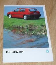 Volkswagen VW Golf Match Brochure 1995-Mk3 1.4 & 1.9 Diesel