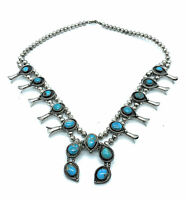 Vintage Navajo Sterling Silver & Turquoise Squash Blossom Necklace