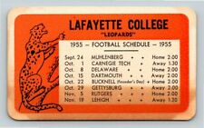 Lafayette College Leopards 1955 Football Schedule pocket card, Easton PA; STAINS