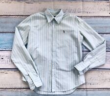 Ralph Lauren Slim Fit sz 2 men's shirt Cotton Long sleeve Blue Beige stripes VG