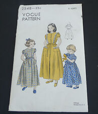 Vintage Vogue Pattern #2548 children's girl's housecoat 4 piece skirt