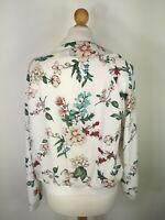 Floral Women's Bomber Collarless Jacket White Blazer XS 8-10 Pimkie Red