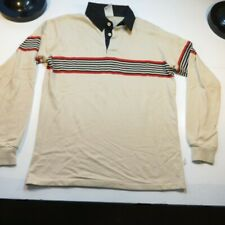 Vintage American Action Gear Campus 70's Striped Long Sleeve Polo Shirt Sz L