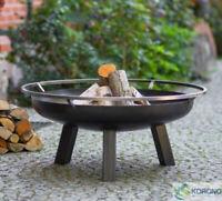 Korono Stahl Feuerschale mit Tragering, Ø 60 - 70 - 80cm mit Zubehör, Hand Made