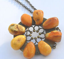 Stunning Butterscotch egg yolk Baltic amber pendant/brooch with old chain
