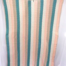 Afghan Crocheted Knit Throw Cover Lap Robe Handmade 48 x 72 Peach Turquoise Tan