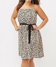 NEW LANE BRYANT **LEOPARD** SIZE 22/24 ANIMAL PRINT STRAPLESS DRESS  **NO BELT**