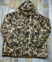 VTG Winchester PVC Waterproof Brown Camo Hooded Lined Jacket