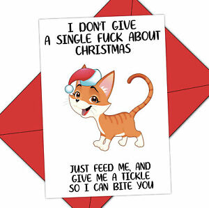 Funny Christmas Cat card, Perfect card for cat owners Hilarious Rude card - 185