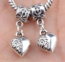 2P European Silver CZ Charm Beads Fit sterling 925 Necklace Bracelet Chain A#634