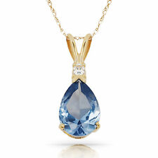 3.05CT Aquamarine Pear Shape 2 Stone Gemstone Pendant & Necklace 14K Yellow Gold