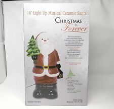 "Christmas Is Forever 16"" Lighted Musical Tabletop Ceramic Santa Nib"