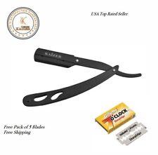 New Stainless Steel Barber Salon Straight Cut Throat Wet Shaving Razor+ 5 Blades