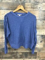 Victoria's Secret Women's Navy Braided Sleeve Cropped Length Pullover Top Size M