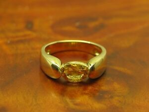 14kt 585 Yellow Gold Ring With 1,10ct Citrine Decorations/4,3g/ Rg 53